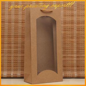 Sacchetto promozionale su ordinazione della carta kraft del Brown Del vino per la bottiglia