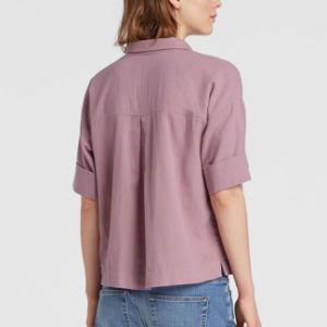 Orgnaicの綿のクレープのボックス型のワイシャツ
