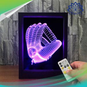 寝室の装飾のクリスマスのギフトのための遠隔スイッチ3D写真フレームの錯覚LED夜ライト7カラーテーブルランプ