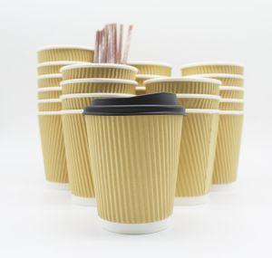 Isolation écologique jetables Mur d'ondulation du papier kraft tasses de café avec couvercle