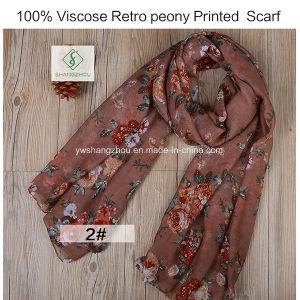 Scarf 2018の最も売れ行きの良いレトロのシャクヤクによって印刷されるViscose/ポリエステル方法女性