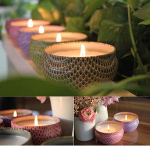 Venta caliente latas de vela de color integrada