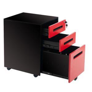 赤い5つの車輪および黒いカラー3引出しの可動装置の軸受け