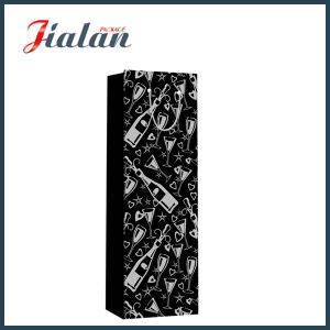 熱い押すワイン・ボトルの紙袋が付いている黒いペーパー