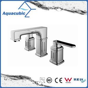 クロム染料で染められた3つの穴の洗面器のコックの真鍮の立水栓(AF0025-6)