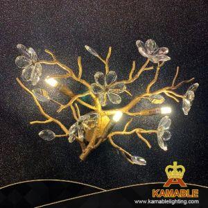 Hotel de lujo de Oro de la flor de cristal decorativas de LED ramificada Lampara de pared (KAMD1822-3)