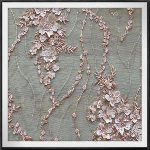 Merletto nuziale del tessuto del merletto del ricamo della maglia 3D per il vestito da cerimonia nuziale