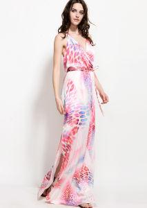 Mesdames longue robe en mousseline de l'été imprimé avec enveloppé l'avant