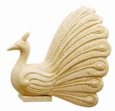 Beeldhouwwerk van het Zandsteen van het Standbeeld van het Cijfer van de Stijl van de pauw het Dierlijke