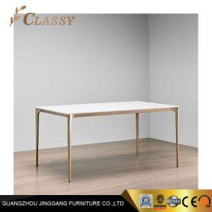Металлическое основание в легком бронзовая отделка прямоугольник обеденный стол