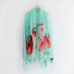 Senhora Fashion impresso da mola de viscose lenço de seda (YKY1130)
