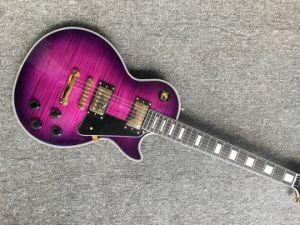 Best Selling Custom guitarra eléctrica com Flamed Maple Top Lp Guitar cor violeta pode Customized