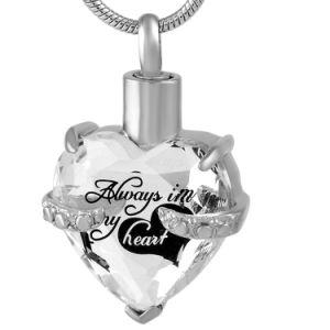 ステンレス鋼ペットまたは人間の記念の壷のゆとりの水晶火葬のペンダントのネックレス