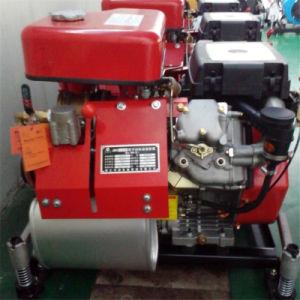 O motor diesel da bomba de combate a incêndio