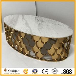 Populärer runder weißer Marmorkaffeetisch mit Edelstahl-Rahmen