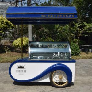 たらいが付いているフランスのアイスクリーム車かGelato押しのカート