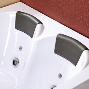 Persona doble masaje acrílico bañera de hidromasaje con almohada (TLP-665 mando neumático)