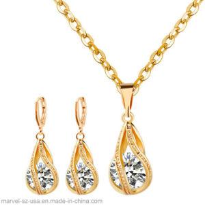 Chute de l'eau 925 Sterling Silver Necklace Earrings femmes bijoux Set