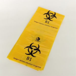 赤く黄色いPEのオートクレーブの殺菌の医学の廃棄物処理袋