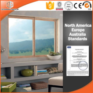 Bellas imágenes de aluminio con revestimiento de madera Ventana corrediza de vidrio para ventanas y puertas de los clientes