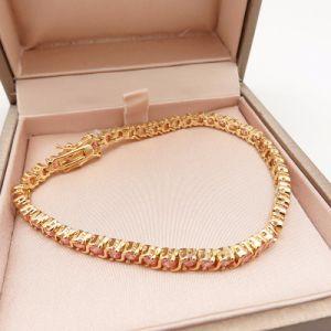 Uitstekende Armband met Roze Diamant in 18K Geplateerd Goud