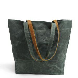 Nouveau design toile imperméable Mesdames de Shopping sac fourre-tout cuir femmes Sacs à main (RS-62250-P)