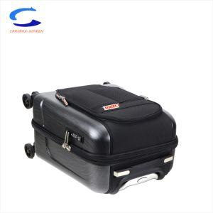 Schwarzes Nylon des Form-Entwurfs-18  und PC hartes Shell-zusammengesetzter Film Hybric 8 Rad-Spinner Tsa Verschluss-Kabine-Fluglinien-Arbeitsweg-Koffer, der Laufkatze-Gepäck ineinanderschiebt