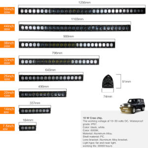 7.5 Duim CREE 40W 4X4 ATV Hummer H1 H2 H3 Parts Single Row LED Light Bar