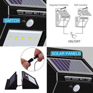 Sensor de movimiento PIR de división de la familia al aire libre Jardín Lámpara Solar LED Lámpara de pared