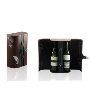 PUの3本のびん(1350年)のための革ギフトのワインのキャリアの収納箱