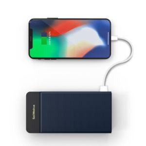 Precio de promoción de la Funda de cuero de PU Cargador rápido de teléfono de soporte cargador inalámbrico Banco de potencia para el iPhone