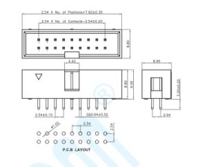 pH 2.54 180度ボックスヘッダのコネクター