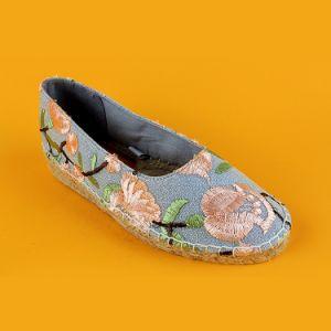 Envie de jolies femmes Slip-on sans lacets broderie florale Espadrilles filtre en coin