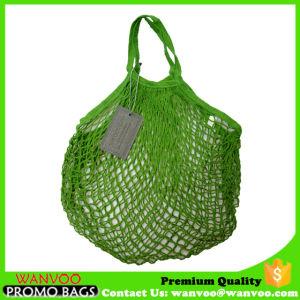 Grüner Baumwollnetz-Ineinander greifen-Beutel für Strand und das Einkaufen