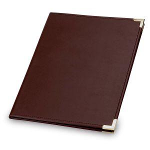 A4 couverture rigide en cuir marron Fodler cas PU