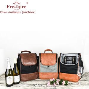 Mode de vente en gros 2 bouteille de vin du refroidisseur d'fourre-tout sac sac thermique /Cuir synthétique