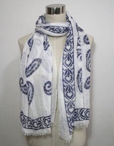 Fashion Floral Printed Cotton女性ポリエステルボイルの絹のスカーフ(YKY1034)