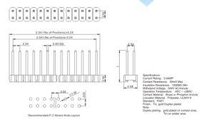 Fase2.54mm 2Fila cambagem DIP de Pinos do Côncavo