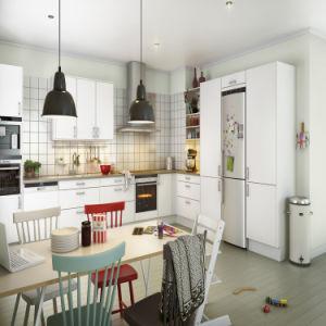 Acabado en laca mate muestra de color blanco del gabinete de cocina Muebles altos armarios de madera (ACS2-L313)