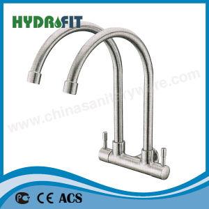 高品質のSU 304の二重レバーの台所の流しの蛇口の冷たいミキサー(FT5213)