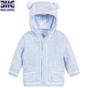 Il fumetto rotondo 100% del tasto del collo del cotone dei bambini ha lavorato a maglia i disegni del maglione di Hoodies per il neonato con la casella due