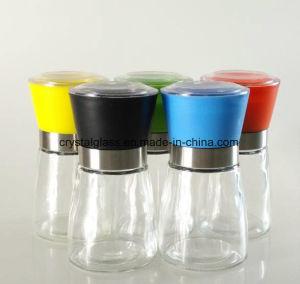 Salz-keramischer Schleifer mit farbiger Schutzkappe, würzen Glasflasche