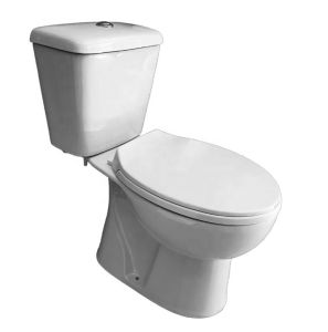 Precio al por mayor fábrica de Sairi económico de estilo europeo pequeño cuarto de baño WC Baño dos piezas de cerámica