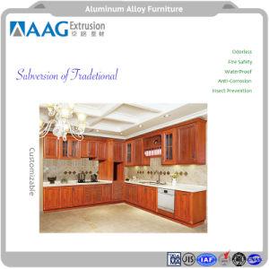 Estilo europeu cozinha de grãos de madeira de alumínio durável e Babinet mobiliário com design diversos