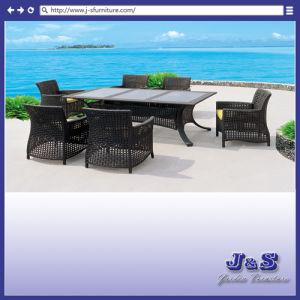 家具セット、庭のデッキの藤の椅子及び表(J414)を食事するホーム屋外のテラス