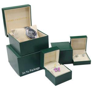 Papel de couro verde escuro Hinger jóias de exibir a caixa de embalagem