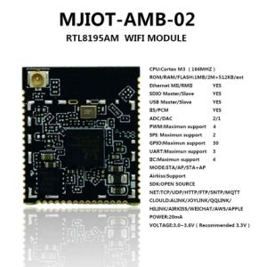 Scheda incorporata dell'antenna + di adattatore del modulo senza fili del ricetrasmettitore di Mjiot-Amb-02 Rtl8195am WiFi