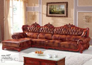 ヨーロッパのソファー、革ソファー、木のソファー、アメリカのソファー(A37)