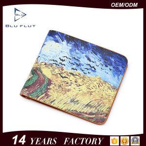 Carpeta de cuero impresa imagen de encargo de la tarjeta de crédito Pocket de la carpeta de la moneda