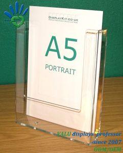 Supporto acrilico del segno del basamento dell'opuscolo del menu A5